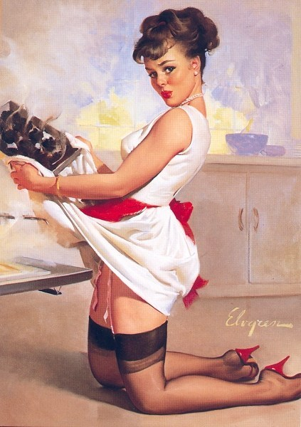 elvgren pin-up-in-kitchen